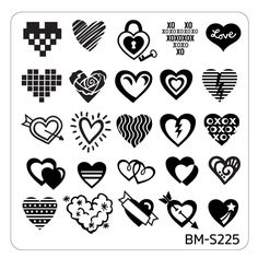 Valentine's Day Themed Nail Art Stamping Plates - Occasions Collection, BM-S225: All You Need is Hearts