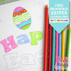Free Printable Happy Easter Coloring Page by Partymazing. An amazing craft for this Easter weekend. Download www.partymazing.com