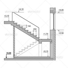 Buy Draft Project Stairs on White Background by In-Finity on GraphicRiver. Draft Project Stairs on White Background. Home Map Design, Home Stairs Design, Railing Design, Escalier Art, Escalier Design, House Map, House Stairs, Stairs Architecture, Architecture Design