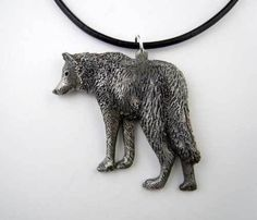 Standing Wolf Pendant in Pewter. Full of beautiful detail and rich coat. The Wolf Pendant measures approximately Wolf Jewelry, Animal Jewelry, Wolf Necklace, Pendant Necklace, Wolf Howling At Moon, Wolf's Head, Rings N Things, Beautiful Wolves, Wolf Spirit