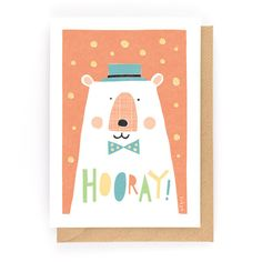 HOORAY BEAR! - Greeting Card www.freya-art.com