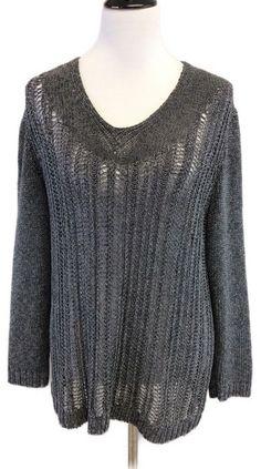 Lafayette 148 XL Grey Open Knit V Neck Sweater    eBay