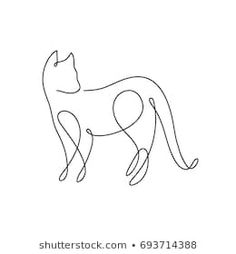 One line design silhouette of wild cat.vector illust… One line design silhouette of wild cat. Single Line Drawing, Continuous Line Drawing, Cat Design, Line Design, Mini Tattoos, Small Tattoos, Line Art, Animal Line Drawings, Cat Tattoo