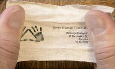 business card = massage therapist (presented tied in a knot)