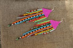 Hippie Seed Bead Earrings, Native American Inspired Bead Work,colorful earrings, Boho earrings Mixed Beads by SandasHandmades on Etsy Handcrafted earrings made with love :) by SandasHandmades Seed Bead Jewelry, Seed Bead Earrings, Diy Earrings, Earrings Handmade, Hoop Earrings, Fringe Earrings, Seed Beads, Silver Earrings, Beaded Earrings Native