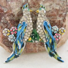 """SOLD.  Large Bird of Paradise Vintage Enamel & Rhinestone Unsigned Coro Duette Pin.  See me at the """"Vintage Jewelry Star"""" shop at http://www.rubylane.com/shop/vintagejewelrystar!!"""