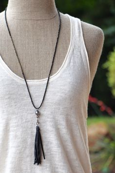 Long Layering Spinel, Pyrite, Tahitian Pearl and Pave Diamonds, Black Leather Tassel, Boho Style Versatile Layering Necklace, Add a Pendant by HappyGoLuckyJewels on Etsy https://www.etsy.com/listing/232692675/long-layering-spinel-pyrite-tahitian