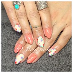 Floral nails, coral, flower print, gold studs