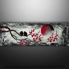 Title: The Moon Song ( black and white, red )  Size: 36x12, stretched canvas, 7/8 thick bars, gallery wrapped, no staple  COA will be included signature ( both sides: front and back )  Permanent protective coating: varnish  Tracking number is provided ( www.fedex.com )