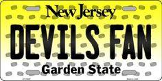 Devils Fan New Jersey Background Novelty Metal License Plate