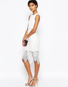 ASOS | ASOS Scuba Crop Top Lace Midi Pencil Dress at ASOS