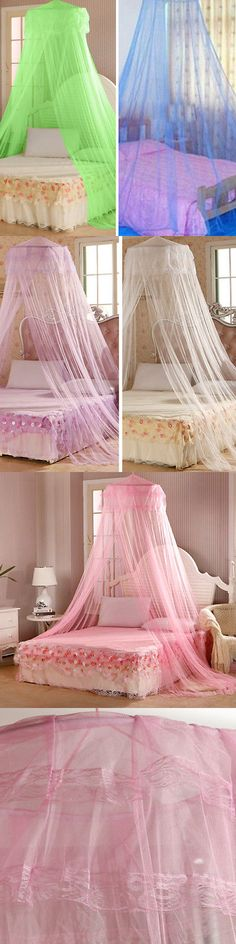 Ingenious Elegant Polyester Lace Insect Bed Canopy Netting Curtain Living Room Round Dome Mosquito Net Bedding For Women Girl Bedding Mosquito Net