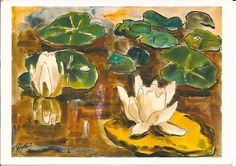 Karl Schmidt-Rottluff: Waterlilies (1934) watercolor