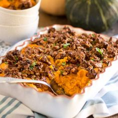 Paleo Whipped Sweet Potato Casserole with Candied Maple Pecans
