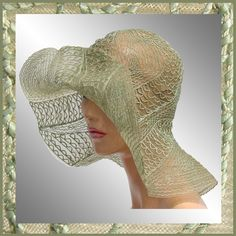 Vintage 20s Garden Party Transparent Hat 1920s 30s Green Woven... ($250) ❤ liked on Polyvore