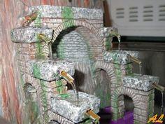 Tutorial de una fuente historiada – Nacimiento en Belén Coolpix, Bird Feeders, Hanukkah, Nativity, Sculpting, Fountain, Wreaths, Outdoor Decor, Inspiration