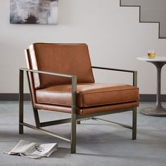 West Elm Metal Frame Leather Chair - $1,199