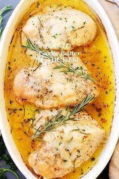 Baked Garlic Butter Chicken - Super quick, easy and SO delicious Garlic Butter Chicken with fresh rosemary and cheese. Perfect for weeknights!