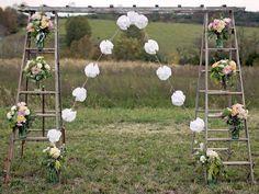 rustic wedding decor and furniture rental Diy Wedding Arbor, Ladder Wedding, Fall Wedding, Trendy Wedding, Chic Wedding, Wedding Ideas, Wedding Ceremony, Wedding Entrance, Outdoor Wedding Arbors