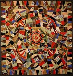 Wool Crazy Quilt: Dated 1890; Pennsylvania