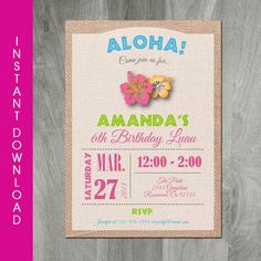 Luau Invitation. Perfect for a sweet Hawaiian birthday or baby shower! Download this 5 x 7 invitation directly off the Etsy site and EDIT the