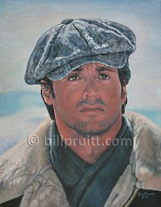 """This is ORIGINAL oil painting of Sly Stallone from the movie """"Rocky IV"""" measures 14""""x18"""" on stretched canvas. It is sealed with 2 coats of varnish so it will be preserved for many generations."""