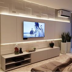 Gorgeous TV panel prized for the lighting! Grey Kitchen Cabinets, Kitchen Cabinet Design, Modern Kitchen Design, Living Room Wall Units, Living Room Designs, Living Room Decor, Sala Grande, Apartment Decorating On A Budget, Home Decor Trends