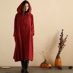 Original Ethnic Loose Hooded Thick Coat