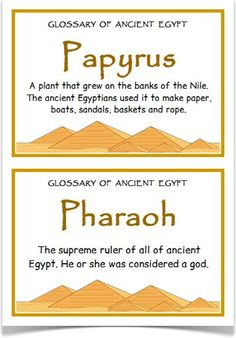 Glossary of Ancient Egypt - Treetop Displays - A set of 34 A5 posters that is a glossary of ancient Egypt. Each poster has a key word heading, making it great for discussion, activities and displays for this historical topic. Visit our website for more information and for other printable classroom resources by clicking on the provided links. Designed by teachers for Early Years (EYFS), Key Stage 1 (KS1) and Key Stage 2 (KS2).