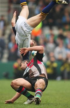 That's what happens in rugby. And he is still looking for the ball.