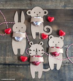 Animal Candy Huggers Valentine's Day Card Printable by Lia Griffith, 20 DIY Valentine's Day Card Ideas via A Blissful Nest