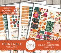 Happy Planner Printable Planner Stickers, Fall Planner Kit including Cut Files