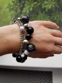 BLACK, WHITE & SILVER BEADED STRETCH BRACELET - RETRO CHIC!! CUTE!! FUNKY!! | Jewelry & Watches, Fashion Jewelry, Bracelets | eBay!