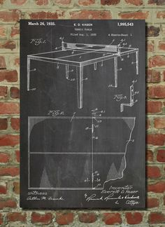 Table Tennis (Ping Pong) Patent Wall Art Poster    This patent poster is printed on 90 lb. Cardstock paper. Choose between several paper styles and