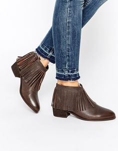 ASOS AROOTS Leather Western Fringe Ankle Boots