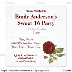 Simple Clean Red Rose Sweet 16 Birthday Invitation