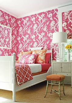 thibaut pink wallpaper, orange and pink bedding, white bamboo bed My New Room, My Room, Girl Room, Girls Bedroom, Bedroom Decor, White Bedroom, Interior Exterior, Interior Design, Bold Wallpaper