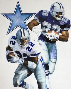 Watercolor Art. Dallas Cowboys running back. Emmitt Smith. By Jimmy Anaya