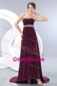 Beautiful Empire Dark Purple Party Maxi Dresses with Beading