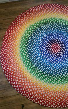 Rainbow nursery rug available at greenatheartrugs.com