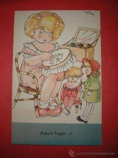 POSTAL DE LA MARI PEPA. SERIE A. Nº 8. ILUSTRADA POR MARÍA CLARET. AÑOS 40.