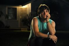 "Josh Hutcherson as Clapton Davis in ""Detention"" AAAH HELP ME HIS EXPRESSION! Not to mention the muscles XD"