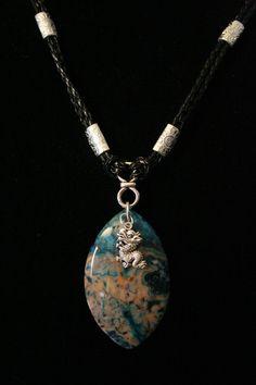 Men's Crazy Lace Agate, Dragon Charm Pendant Necklace on Leather    #jewelry#Necklace#Stones#Gift#JewelryHandmade#Beads#Etsy#Spdalmation jasper, amethyst#rutilatedquartz#Spreesy#stonejewelry#picassojasper#mensjewelry#unisex#choker#beads   Shop this product here: http://spreesy.com/everythingarty/93   Shop all of our products at http://spreesy.com/everythingarty      Pinterest selling powered by Spreesy.com