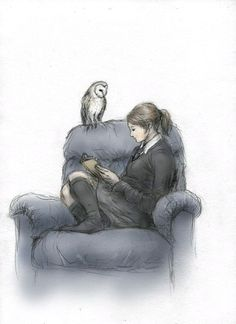 Ravenclaw by ejbeachy on deviantART (I LOVE THIS) -I find this great because on pottermore I was placed into Ravenclaw and this is literally how you can find me sitting most of the time. Just on a couch, not a chair, lol. <<literally every ravenclaw girl Ravenclaw, Harry Potter Fan Art, Harry Potter World, Hermione Granger, Illustrator, Fanart, Pokemon, Hogwarts Houses, Mischief Managed