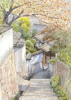 Watercolor Architecture, Watercolor Landscape, Landscape Art, Watercolor Paintings, Watercolour, Japon Illustration, Watercolor Illustration, Anime Scenery Wallpaper, Wow Art