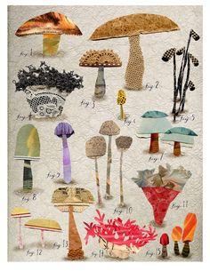 mixed media non edible mushroom botanical 1.  ||  Susan Farrington via Etsy.