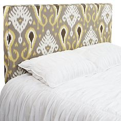#zgallerie  I NEED THIS .Bold and sophisticated ikat upholstered headboard in striking accent colors of Citrine, White and Black with a classic grey background. $499 - $599