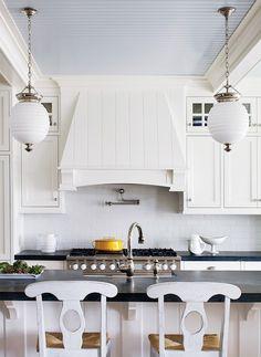 hood profile, pale blue beadboard ceiling, robert abbey beehive pendants | Boston Magazine