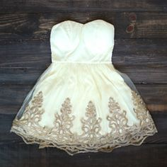 Vintage inspired golden party dress