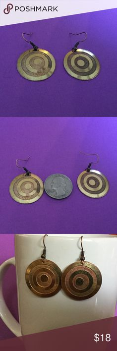 """Handmade Etched brass & copper earrings A-1-05 Handmade etched 1"""" concave brass/copper shield earrings.  Copper dangle wires. One of a kind handmade Jewelry Earrings"""